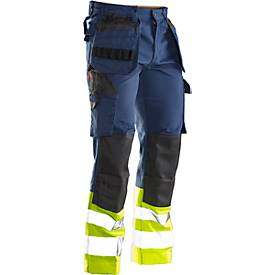 Image of Bundhose Jobman 2277 PRACTICAL, Hi-Vis, mit Kniepolster- & Holstertaschen, Warnschutzklasse I, dunkelblau I gelb, 44