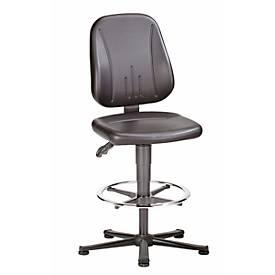 Bureaustoel 9651 ESD, imitatieleer, met glijder en voetring, Skai grijs, met glijder, met glijder en voetring