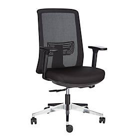 Bureaustoel HIGH BACK, met armleggers, zelfkantelend mechanisme, geprofileerde zitting, netrugleuning, zwart/zilver