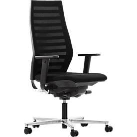Bureaustoel R 12, met armleuningen, onderstel aluminium gepolijst, zwart