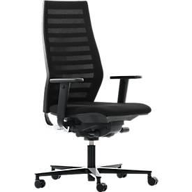 Bureaustoel R 12, met armleuningen, onderstel zwart, zwart