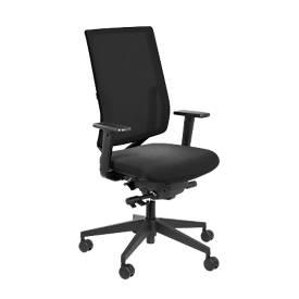 Bureaustoel SSI Project OI 2530, zonder armleuningen, synchroonmechanisme, voorgevormde zitting, netrugleuning, zwart/zwart