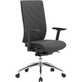 Bureaustoel WIKI, met armleuningen, gestoffeerde rugleuning, onderstel aluminium gepolijst, zwart