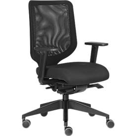 Bureaustoel XT, met armleuningen, synchroonmechanisme, netrugleuning, gestoffeerde vlakke zitting, zwart