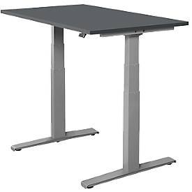Bureautafel SET UP, T-poten, elektrisch hoogteverstelbaar, 1200x800mm, grafiet