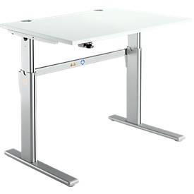 Bureautafel Standaard, C-poot, rechthoek,  elektrisch hoogteverstelbaar, b1200mm, lichtgrijs
