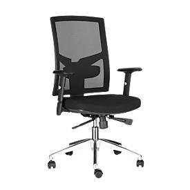 Bürostuhl HIGH NET, mit Armlehnen, höhenverstellbar, Rückenlehnenhöhe 610 mm