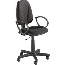 Bürostuhl Jupiter, ohne Armlehnen, Muldensitz, höhen-, tiefen und neigungverstellbare Rückenlehne