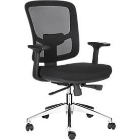 Bürostuhl NET 300, mit Armlehnen, Rückenlehne mit atmungsaktivem Netz, mit Muldensitz