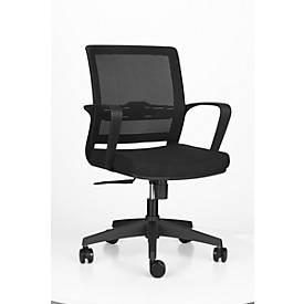 Bürostuhl OFFICE ONE, mit festen Armlehnen, Wippmechanik, Rückenlehne mit Netz