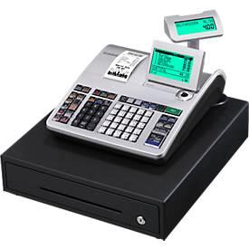 Caisse enregistreuse Casio SE-S400MB-SR-FIS, conf. GoBD/GDPdu, 4 cases à billets, 8 cases à pièces