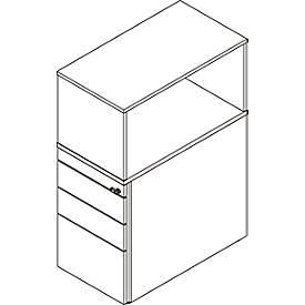 Caisson avec étagère de rehausse, verrouillable, avec tiroir à dossiers suspendus, l. 435 mm