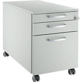 Caisson mobile 126, 3 tiroirs, poignées rondes, gris clair/gris clair/gris clair