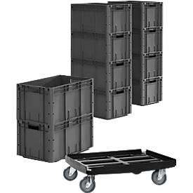 Caja norma europea serie LTF 6320, PP, L 600 x An 400 x Al 320mm, 62,7l, hasta 30kg, 10 uds. + bastidor rodante de plástico gratis