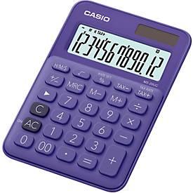 CASIO® MS-20UC rekenmachine, 12-cijferig LCD-scherm, op zonne-energie/batterij, paars