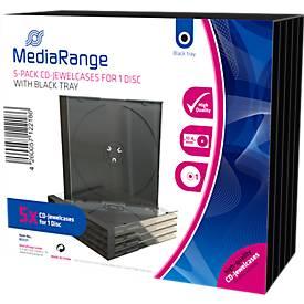 CD/DVD-leeg hoesje, transparant, zwarte tray, Jewelcase, 5 stuks