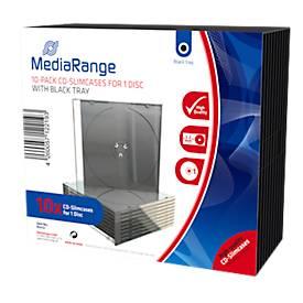 CD/DVD-leeg hoesje, transparant, zwarte tray, Slimcase, 10 stuks