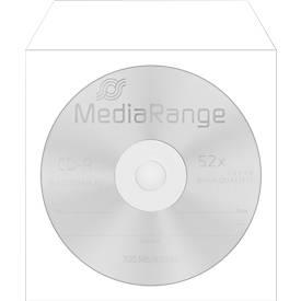 CD-/DVD-Papierhüllen, selbstklebende Lasche, Sichtfenster, weiß, 100 Stück