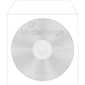 CD-/DVD-Papierhüllen, wiederverschließbar, Sichtfenster, weiß, 50 Stück