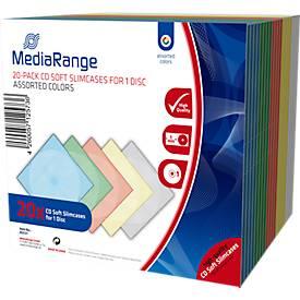 CD/DVD-Leerhülle, bruchsicher, farbig sortiert, Slimcase, 20 Stück