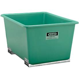 CEMO rechthoekige bakken met insteekkokers voor heftrucks, groen, 1100 l