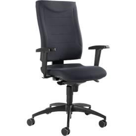 Chaise de bureau SSI Proline P1, avec accoudoirs, mécanisme synchrone, assise spéciale soutien du bassin, anthracite