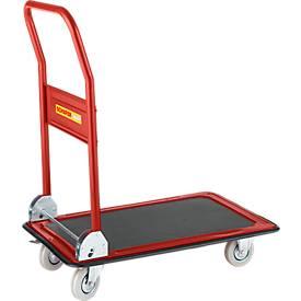 Chariot à plateforme, rabattable, bandage caoutchouc plein, capacité 150 kg