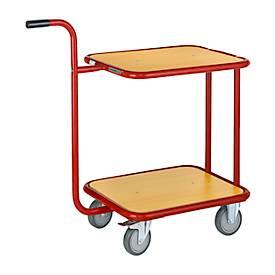 chariot à poignée avec 2 plateaux