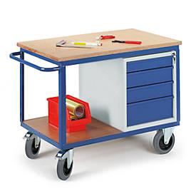 Chariots à plateaux avec bloc tiroirs et/ou coffre. Capacité 500 kg