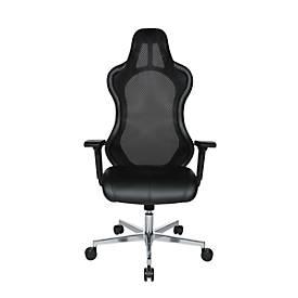 Chefsessel Open Chief Premium, mit Armlehnen, Synchronmechanik, Muldensitz, Kopfstütze, schwarz/alusilber