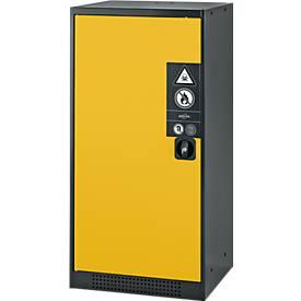 Chem.kast, vl.deur, 2 legb., 545x520x1105 mm, geel
