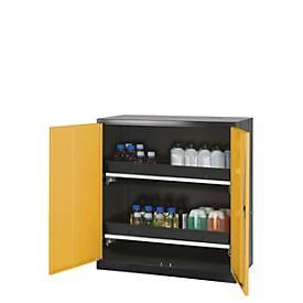 Chemicaliënkast, vl.deur, 2 bakladen, 1055x520x1105 mm, geel