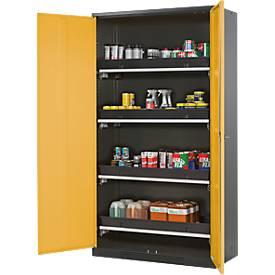 Chemicaliënkast, vl.deur, 4 baklegb., 1055x520x1950 mm, geel