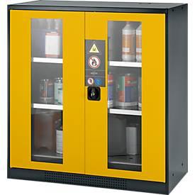 Chemikalienschrank, Flügeltür m. Glasausschnitt, 2 Böden, B 1055 x T 520 x H 1105 mm