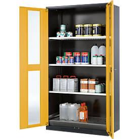 Chemikalienschrank, Flügeltür m. Glasausschnitt, 3 Böden, B 1055 x T 520 x H 1950 mm