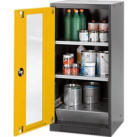 Chemikalienschrank, Flügeltür und Glasausschnitt, 2 Böden, H 1105 mm