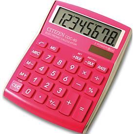 Citizen desktop rekenmachine CDC80, 8-cijferige LCD-display, batterij en zonne-energie, pink