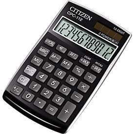 Citizen Taschenrechner CPC, 12-stellige LCD-Anzeige, Batterie- und Solarbetrieb