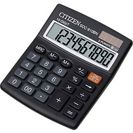 Citizen Taschenrechner SDC 810BN semi, 10-stellige LCD-Anzeige, Batterie und Solar