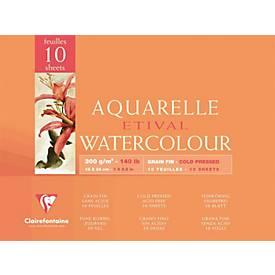 Clairefontaine Aquarellblöcke ETIVAL, fein, 10 Blatt
