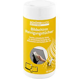 CLIP Bildschirm-Reinigungstücher, feucht, in praktischer Spenderdose, 100 Stück