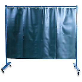 Cloison de protection pour soudure avec film rideau, avec roulettes, en 1 pièce