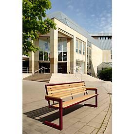 Cochem bank, 4 zitplaatsen, gemaakt van staal, gegalvaniseerd, latten Robiniehout beschermd, wijnrood, 4 zitplaatsen, met een houten lattenpakket.