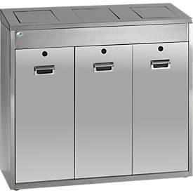 Collecteur modulaire de tri de matériaux VAR 3 x 48 litres, acier inoxydable