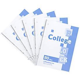 Collegeblok, geruit, A4 formaat, 5 stuks
