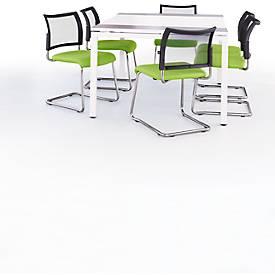 COLOR complete aanbieding : 1 vergadertafel wit/antraciet B 1500 mm + 6 sledestoelen