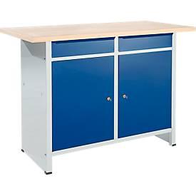 Compacte werkbank Easy met 2 scharniere vleugeldeuren en 2 schuifladen, B 1400 x D 600 x H 840 mm, grijs/gentiaanblauw