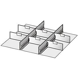 Compartimentage de tiroir, 2 barrettes intermédiaires/6 cloisons