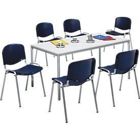 Compl. aanbieding 6 stapelb. stoelen Elyeko en besprekingstafel