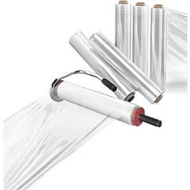 Set handwikkelapparaat + 6 rollen stretchfolie transp.